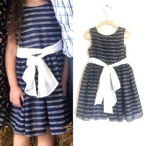 Helena Striped Big Bow Flare Sleeveless Dress